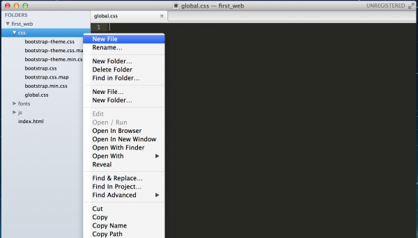Sublime Text - New file