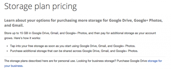Google Drive Plans