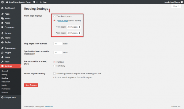 setting static page