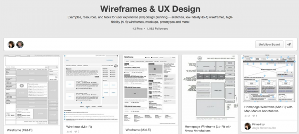 Wireframe in Pinterest