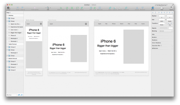 Apple site wireframe