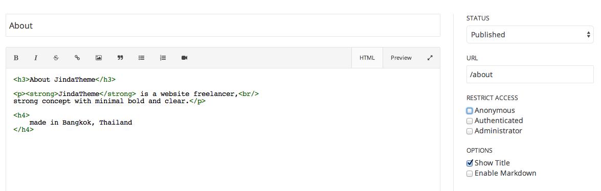 pagekit - editor html markdown