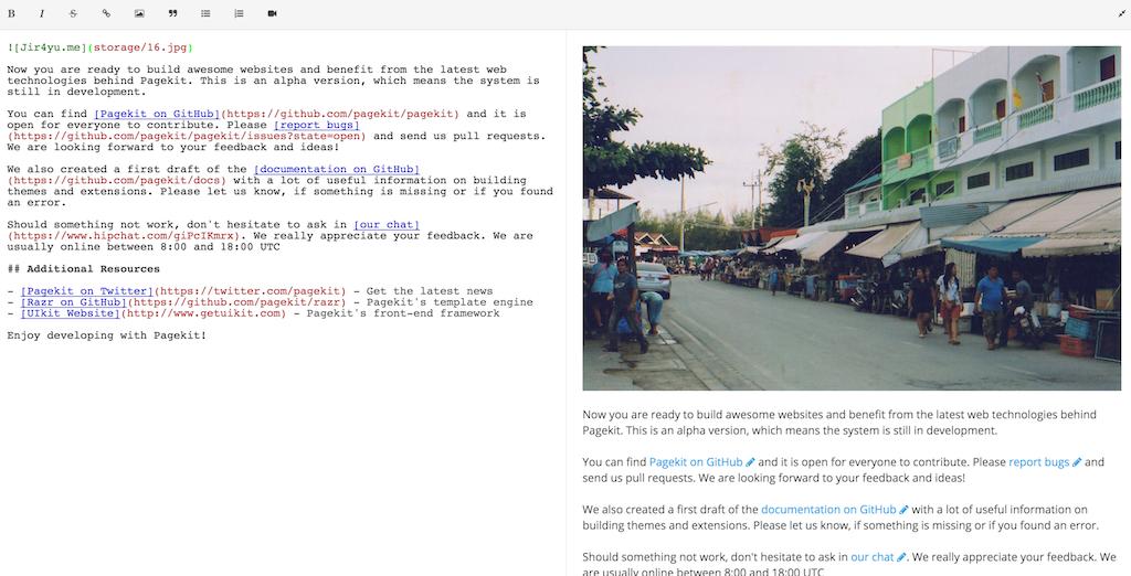 pagekit - editor image