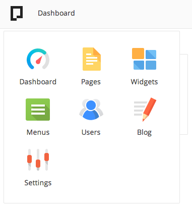 pagekit - menu dashboard
