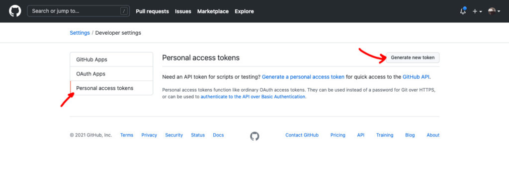 personal access tokens and generate